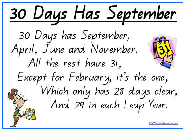 How many days are in each month